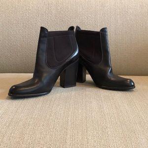 Stuart Weitzman Brown Block Heel Ankle Boots